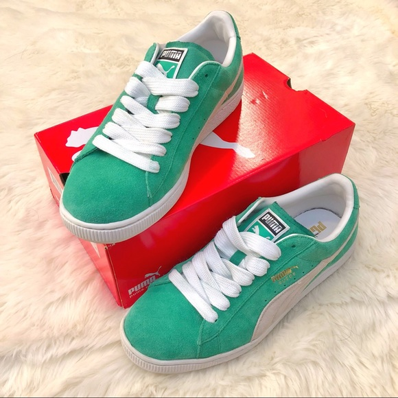 check out 292aa b8398 Puma Suede 10: Kelly Green/White/Metallic Gold